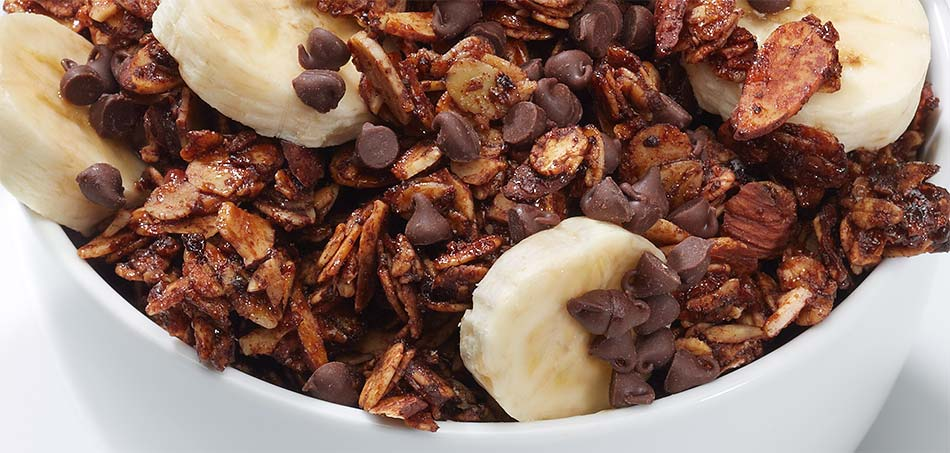 Chocolate-Mocha Granola with bananas and chocolate chips